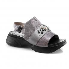 Grey colour women open shoes