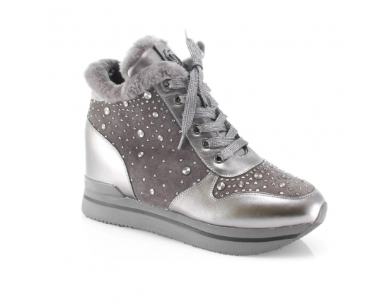Pilkos spalvos moteriški žieminiai batai